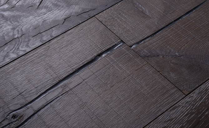 deep brushed rustic wood flooring
