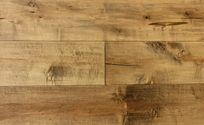 Handscraped engineered maple flooring